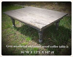 Handcrafted reclaimed grey weathered barn wood coffee table