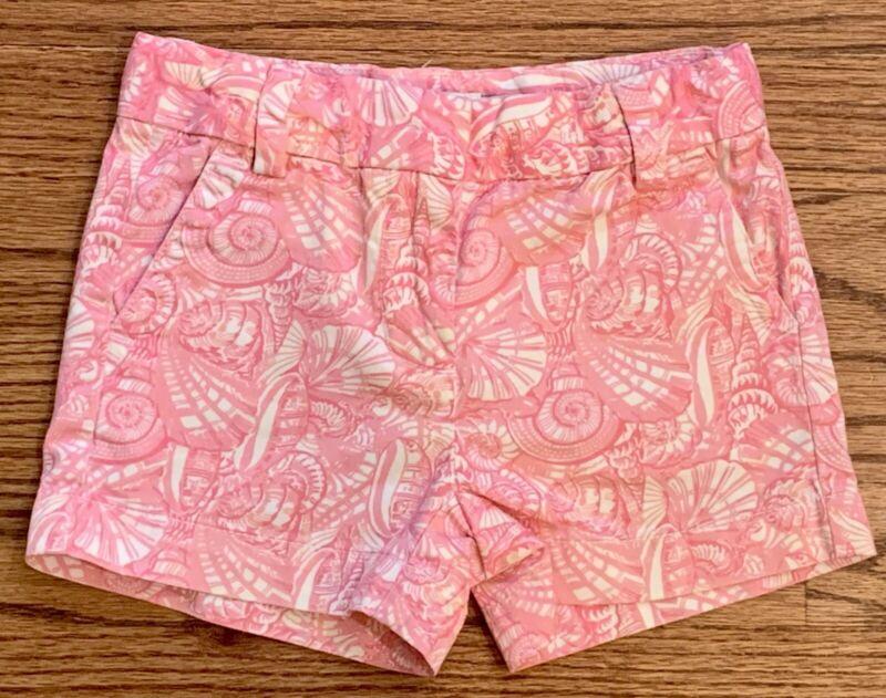 Vineyard Vines Light Pink & White Shell Print Chino Shorts Girls Size 4T Adj