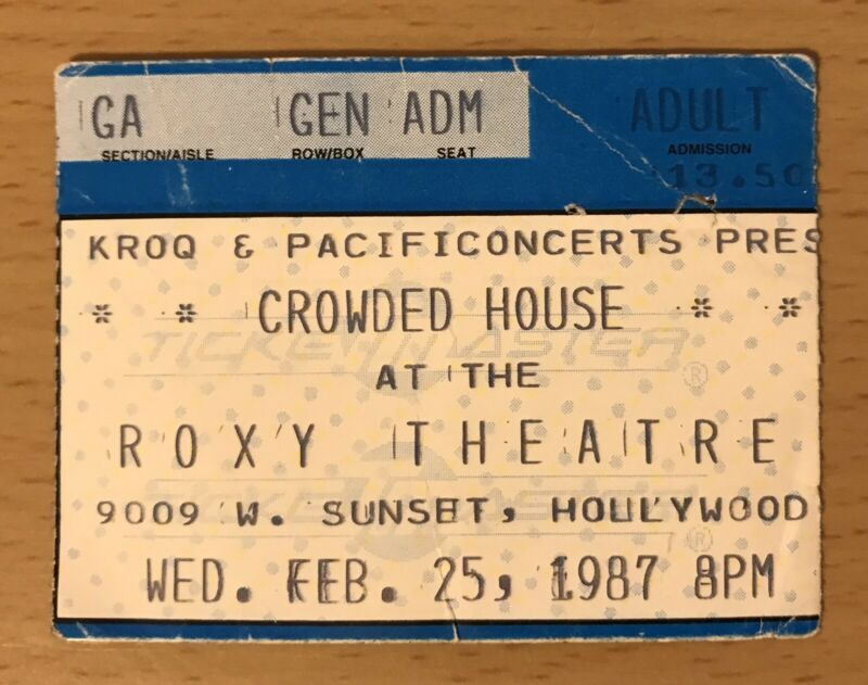 1987 CROWDED HOUSE ROXY HOLLYWOOD CONCERT TICKET STUB SOMETHING SO STRONG FINN