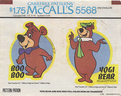BOO BOO AND YOGI BEAR - McCall's 5568, Iron-On Transfers](Yogi And Boo Boo Costumes)