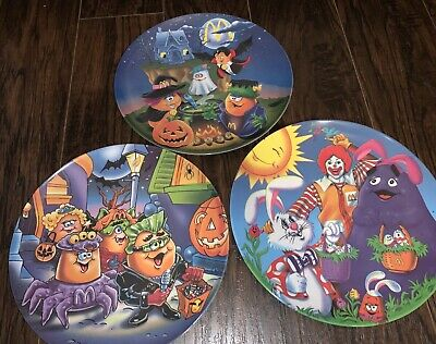 3 Vintage McDonalds Plates Easter and Halloween Ronald Grimace Nuggets