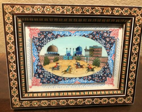 Beautiful Persian Miniature Painting on Decorative Background in a Khatam (inlai