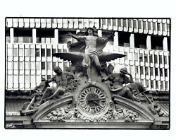 1989 Press Photo NYC Grand Central Station clock by sculptor Jules-Felix Coutan