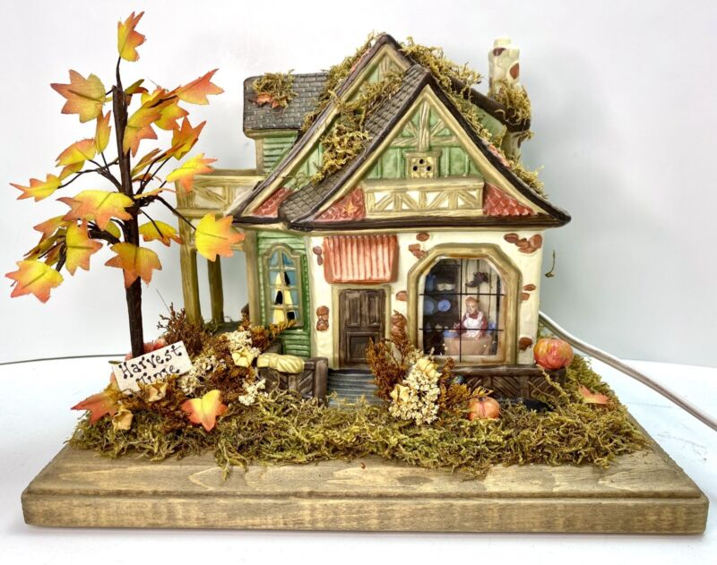 Grove Harvest Autumn Ceramic Lighted Country House Cottage Fall Holiday