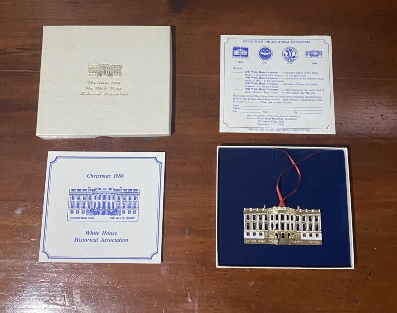 Vintage White House Christmas Ornament 1986 With Paperwork
