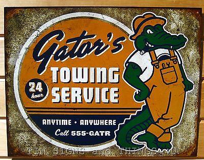 Gator's Towing Service TIN SIGN vtg alligator metal poster garage bar decor 1785