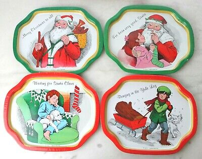 4 old fashioned christmas snack tray-set Weihnachtstablett vintage 70er 70s  Snack Tray Set