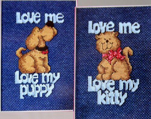 Love Me Love My Puppy Kitty Cat 2 CROSS STITCH PATTERNS