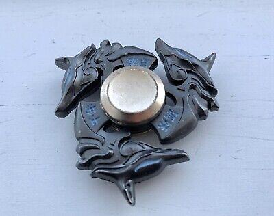 Chinese-Style Fox Metal Fidget Spinner, (Black/Blue)