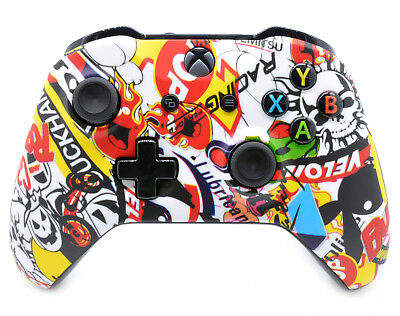 """Mellow Sticker Bomb"" Xbox One S Custom Un-Modded Wireless Microsoft Controller"