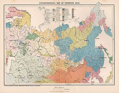 1885 Ca ANTIQUE MAP RECLUS :ETHNOGRAPHICAL MAP OF NORTHERN ASIA