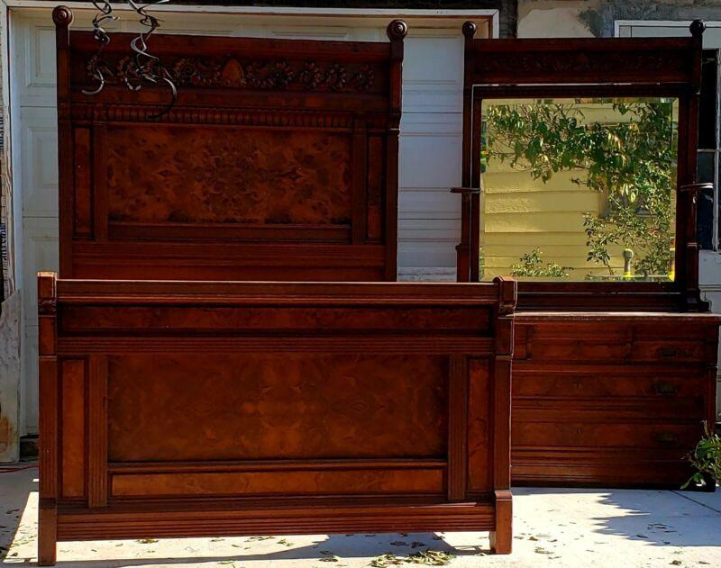 Antique Eastlake Victorian Bedroom Set Dresser & Bed