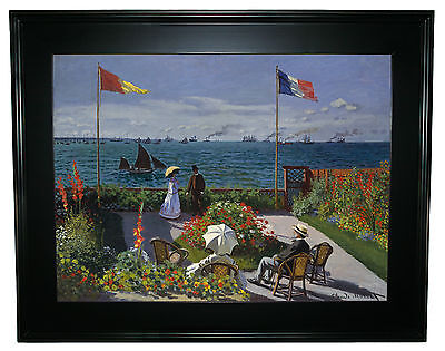 Monet Garden at Sainte Adresse -Black Gallery Framed Canvas Print Repro 25 x 32