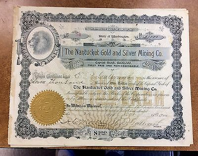 {BJSTAMPS} Washington State Nantucket Gold and Silver Mining Company 1903 stock