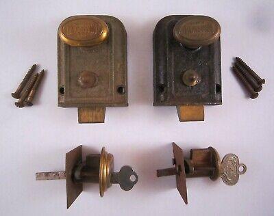 Lot 2 Vintage RUSSWIN Bronze/Brass Dead Bolt Locks Twist Knob Door Latch, Keys