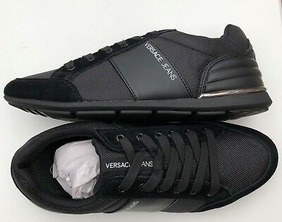 VERSACE JEANS Black Leather/Suede Stripe Logo Trainers Size UK 6 & 7 BNWT/BOX