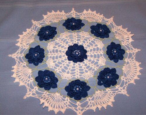 "STUNNING WHITE BEADED DOILY WITH BLUE BEADED ROSES HAND-CROCHETED 16 "" NEW"