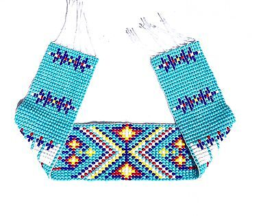 HANDMADE BEADED TURQUOISE BLUE CRAFT APPLIQUE STRIP 1.25X10 INCH