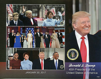 Tanzania 2017 MNH Donald Trump Melania Obama 3v M/S I US Presidents Stamps