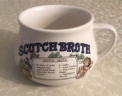 Vintage Scotch Broth Ceramic Soup Mug w/Recipe Scotch Broth Soup