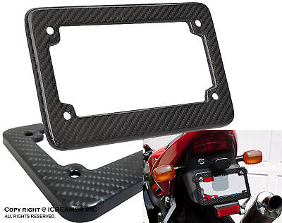 JDM Carbon Fiber Motorcycle License Plate Frame Custom Fit Water Sun Proof B2