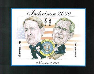 Turkmenistan   Indecision 2000 Al Gore / President George W. Bush  2000 MNH OG