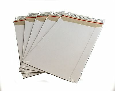 50 - 7x9 7x9 Stay Flat Rigid Mailer Cardboard White Envelope Photo 350gsm