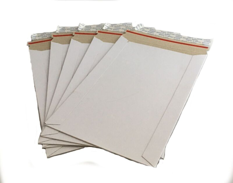 "50 - 7x9 7""x9""  Stay Flat Rigid Mailer Cardboard White Envelope Photo 350GSM"