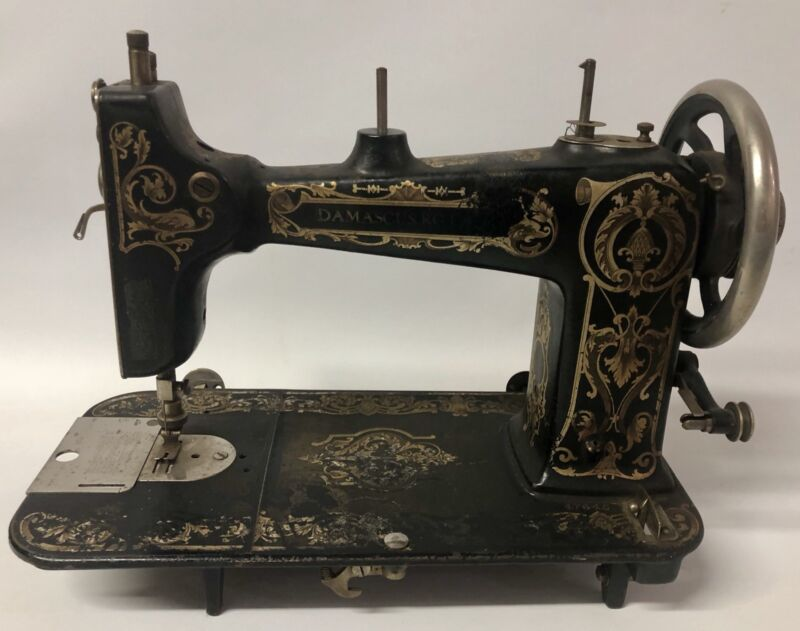 "ANTIQUE ca.1920 ""DAMASCUS"" ROTARY TREADLE SEWING MACHINE HEAD - ART DECO DESIGN"