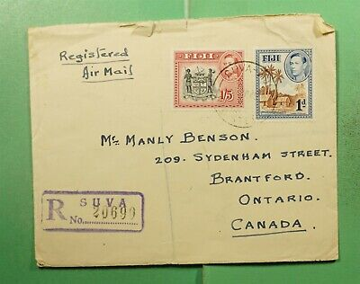 DR WHO 1949 FIJI SUVA REGISTERED AIRMAIL TO CANADA  g14686
