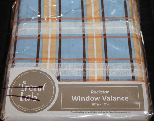 Trend Lab Rockstar Tab Top Window Valance 53x15 blue brown tan plaid new