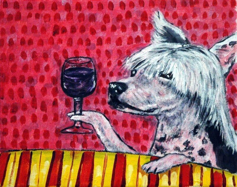 CHINESE CRESTED dog wine PRINT  by artist JSCHMETZ 11x14