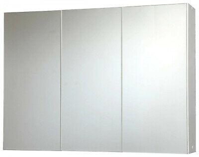 Badezimmer Spiegelschrank Bad 80  cm breit 3-türig Glas  (Glas Schrank)