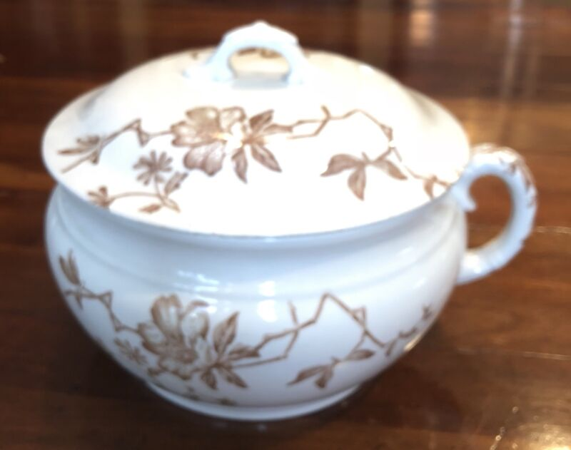 ANTIQUE WEDGWOOD AZALEA TRANSFERWARE White Brown Handled Covered Chamber Pot