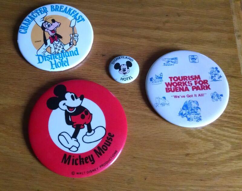 Vintage Disneyland Hotel Mickey Goofy Breakfast tourism metal pins buttons 4 pc