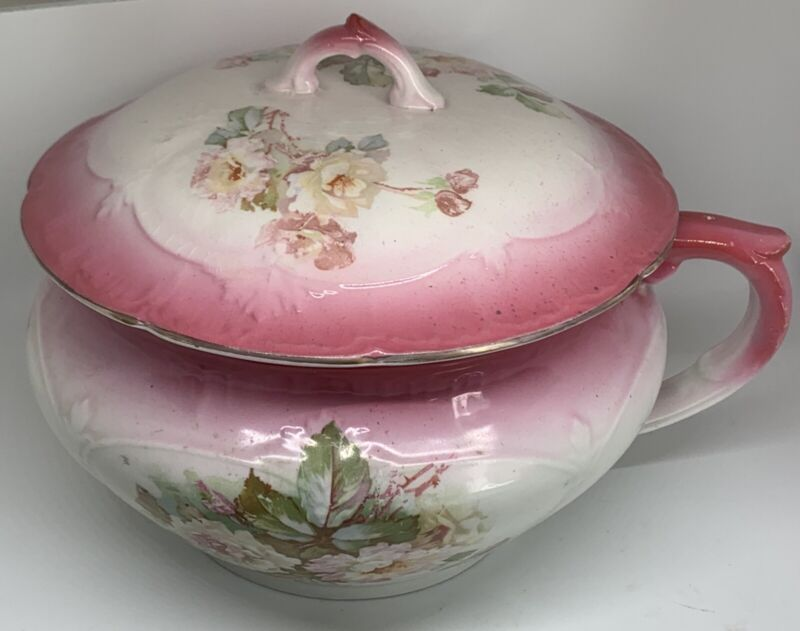 Antique WP LaBelle China Pink& White Floral Chamber Pot