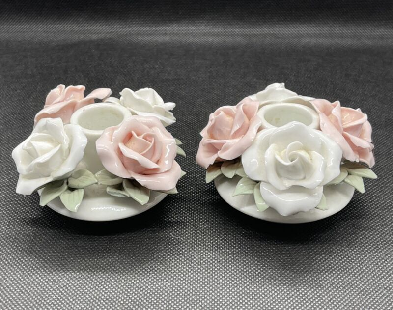 Vintage Ceramic Flower Candle Holder Pair 2in Tall 3in Wide