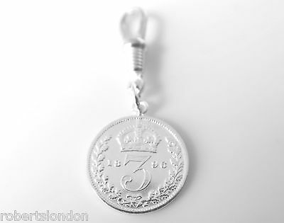 Sterling Silver 1896 Three Pence Coin Pocket watch or Albert Chain Fob Charm -