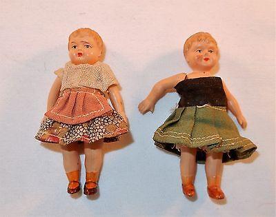 "Ant. German Celluloid 3"" Doll Lot Of 2 Minerva Helmet Mark Miniature Dollhouse"