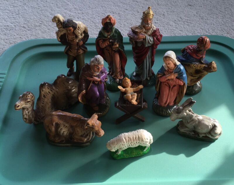 Vintage U.S. Zone Western Germany Nativity 11 Piece Set