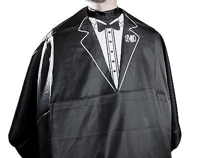 MD Barber Professional Hair Cutting Cape w/ Tuxedo Print (White or Gold)