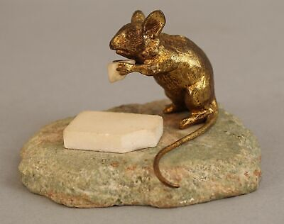Antique Miniature Bronze & Marble Sculpture, Mouse Eating Marble Cheese