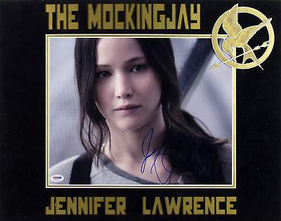 Jennifer Lawrence Hunger Games Mockingjay Signed Matted 11X14 Photo Psa  Aa20200