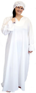 VICTORIAN-EDWARDIAN-Nightdress-Mop-Cap-COSTUME-in-ALL-PLUS-SIZES-18-44