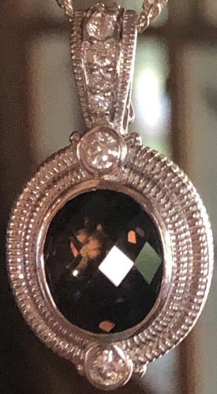 Judith Ripka .925 Sterling Silver Faceted Oval Smoky Quartz Diamonique Enhancer
