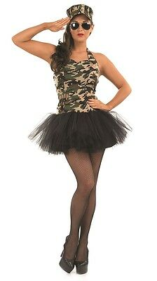 Ladies Military Tutu Army Hen Do Uniforms Fancy Dress Costume Outfit Plus Size (Plus Size Military Costumes)