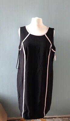 Ladies Kasper Shift Dress, Black & Pink. UK 20, US 16. New with tags.