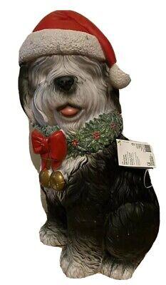 Christmas LED Sheepdog Santa Hat Indoor/Outdoor Holiday Decor Porch Blow Mold