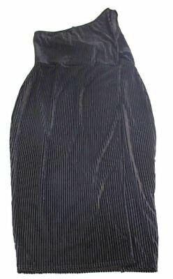 Boohoo Women's Plus Kylie Striped Velvet Wrap Midi Dress CB4 Black US:12 NWT