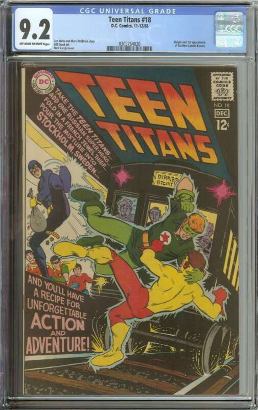TEEN TITANS #18 CGC 9.2 OW/WH PAGES